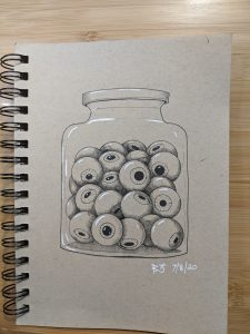 Drawing of a jar of eyeballs