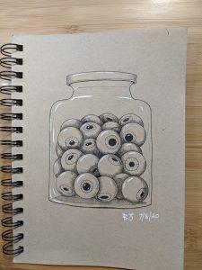 Drawing of a jar of eyeballs